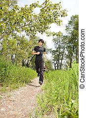 Health conscious people jogging