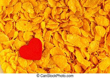 Health diet concept, healthy breakfast. Love corn flakes background