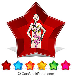 Health Digestion Gemstone Button Set - An image of a Health ...