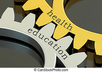 Health Education, concept on the gearwheels, 3D rendering