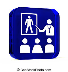 Health Education - Glass button icon with white health care...