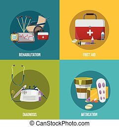 Health facilities icon set with descriptions of rehabilitation first aid diagnosis and medication vector illustration