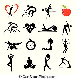 Health Fitness sport icons sets.