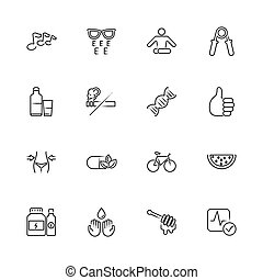 Health - Flat Vector Icons - Health, Yoga, Exercise outline...