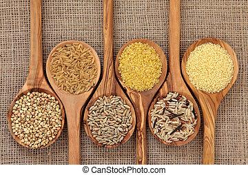 Health Food - Cereal and grain selection of bulgur wheat, ...