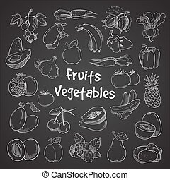 Health food doodle vegetables and fruits hand drawn veggie food meal