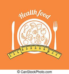 health food over orange background vector illustration