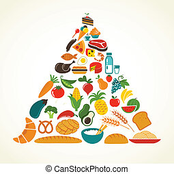 Health food pyramid with vector icon set