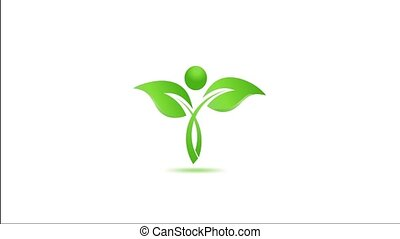 Health Green Leaf. Video Animation Fresh environment leaf motion graphic.