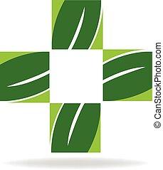 Health green nature cross logo