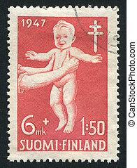 Health Gymnastics for Children - FINLAND - CIRCA 1947: stamp...