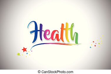 Health Handwritten Word Text with Rainbow Colors and Vibrant Swoosh.