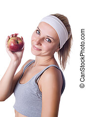 Health - Healthy young woman presenting an apple