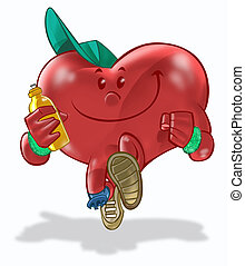 Health Heart 01 - A heart running and making exercises