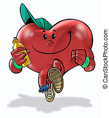 Health Heart 02 - A heart running and making exercises