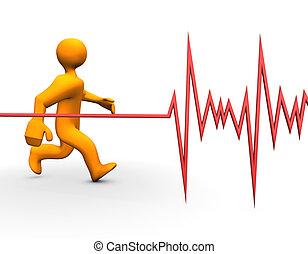 Health Heart - 3d illustration looks a running humanoid...