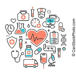 Health Heart Care Concept Medical Icons Signs Isolated on White