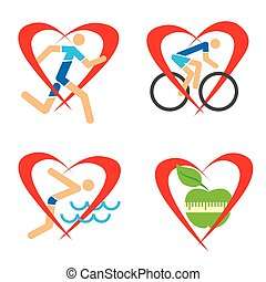 Health heart fitness icons