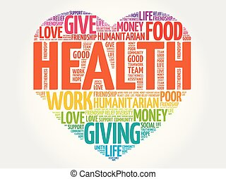 HEALTH heart word cloud collage