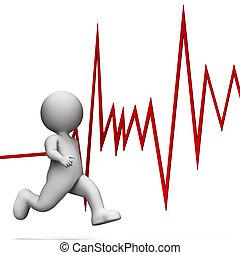 Health Heartbeat Represents Wellness Sprint And Render 3d...