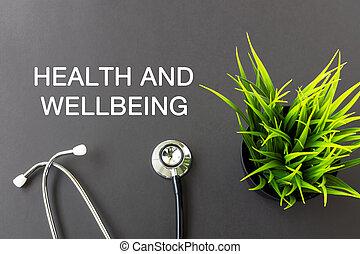 health helyesen being, szöveg, és, sztetoszkóp, egészség,...