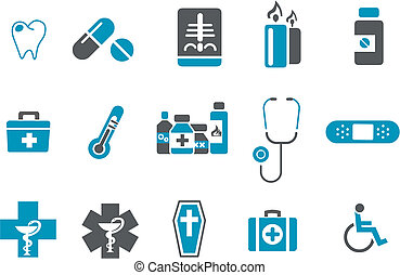 Health icon set - Vector icons pack - Blue Series, health...
