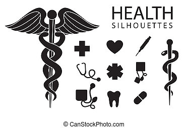 Health icons - health silhouettes on white background, ...