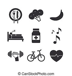 Health icons on white background