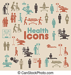 health icons over cream background vector illustration