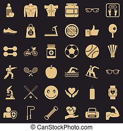Health icons set, simple style