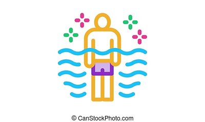 health improvement in pool Icon Animation. color health improvement in pool animated icon on white background