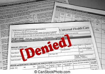 Health Insurance Applicaton (generic) stamped with the word Denied