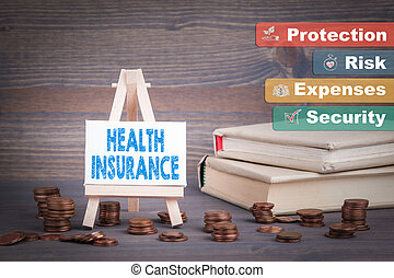 Health Insurance, Business Concept. Miniature easel with small change