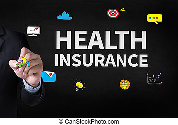 HEALTH INSURANCE Businessman drawing Landing Page on...