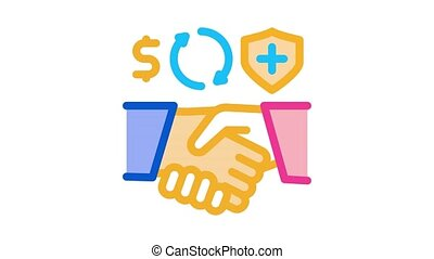 health insurance buy handshake Icon Animation. color health insurance buy handshake animated icon on white background
