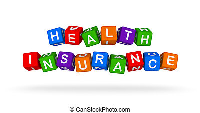 Health Insurance Colorful Sign. Multicolor Toy Blocks.