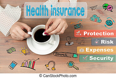 Health insurance concept. Coffee cup on wooden table background.
