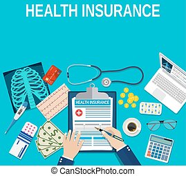 health insurance concept. - Man fills in the form of health ...
