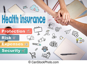 Health insurance concept. The meeting at the white office table