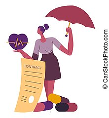 Health insurance contract document, healthcare and support in emergency case