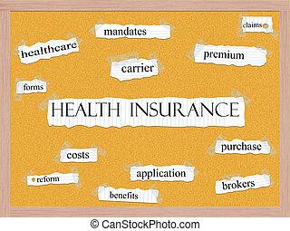 Health Insurance Corkboard Word Concept
