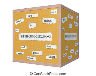 Health Insurance Exchange 3D cube Corkboard Word Concept