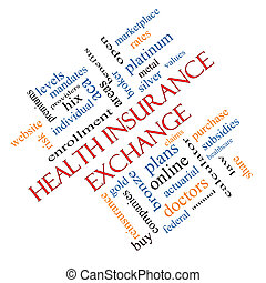 Health Insurance Exchange Word Cloud Concept Angled
