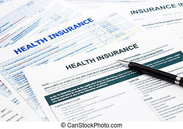health insurance form, paperwork and questionnaire for...
