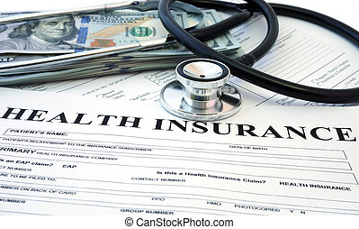 Health insurance form with banknote and stethoscope