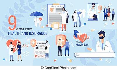 Health Insurance, Health Day Scene Flat Vector Set
