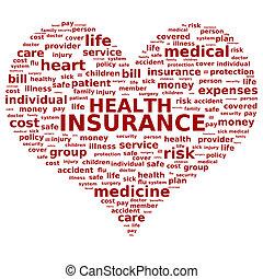 Health insurance concept. Tag cloud.