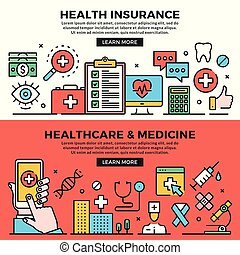 Health insurance, healthcare and medicine web banners set. Line art concepts. Creative modern flat design outline graphic elements, line icons, linear symbols, templates. Vector illustration