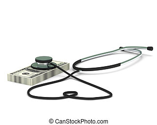 Health insurance. Stethoscope and dollar bills isolated on...