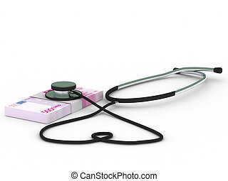 Health insurance. Stethoscope and euro bills isolated on...